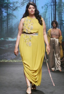 mustard-yellow-silk-georgette-drape-maxi-dress