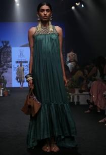 green-check-pure-silk-maxi-dress