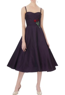 navy-blue-taffeta-silk-embroidered-midi-dress