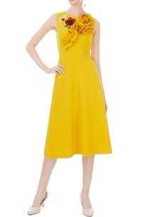 yellow-micro-embroidered-midi-dress