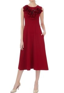 wine-micro-embroidered-midi-dress