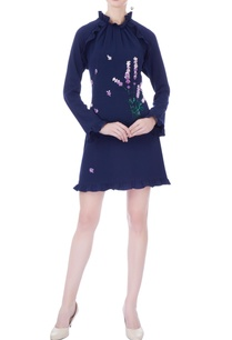 navy-blue-moss-crepe-embroidered-short-dress