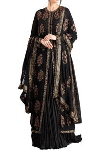 black-chiffon-boota-sequins-work-jacket-with-lehenga-dupatta