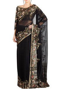 black-yellow-chiffon-bead-sequin-embellished-floral-sari-with-blouse