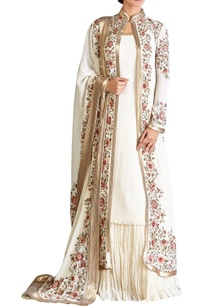 off-white-pink-chiffon-floral-jacket-with-kurta-lehenga-dupatta
