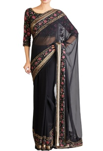 black-pink-shaded-chiffon-floral-sari-with-blouse