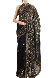 black-mint-green-chiffon-jaal-embroidered-saree-with-blouse