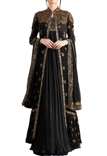 black-chiffon-boota-embroidered-jacket-with-kurta-lehenga