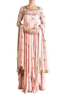 pink-chiffon-boota-kurta-set