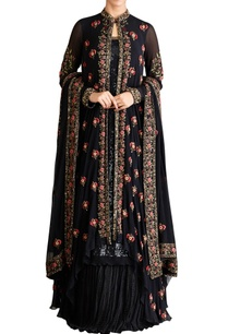 black-chiffon-mukaish-jacket-with-kurta-lehenga