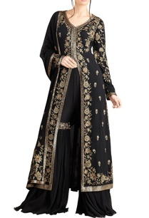 black-iranian-zari-work-jacket-set