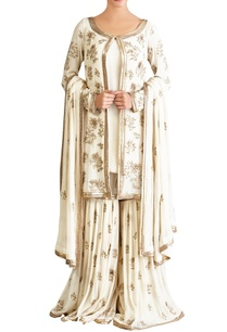 off-white-zari-boota-jacket-kurta-set