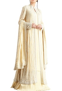 yellow-lucknowi-pearl-embellished-chiffon-jacket-set