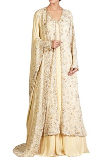 yellow-lucknowi-thread-pearl-embroidered-chiffon-jacket-set