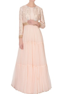 light-pink-tiered-net-anarkali-with-short-jacket