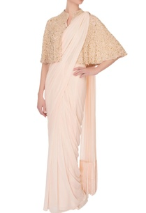light-pink-georgette-sari-with-cape-spaghetti-blouse