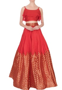 red-raw-silk-ruffle-blouse-super-flared-lehenga