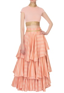 pink-high-collar-blouse-with-tiered-style-lehenga