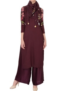 wine-red-linen-georgette-embroidered-kurta-set-with-scarf