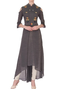 grey-linen-silk-embroidered-kurta