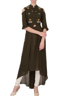 olive-green-linen-silk-embroidered-kurta
