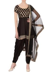 black-satin-silk-printed-zircon-work-dhoti-set