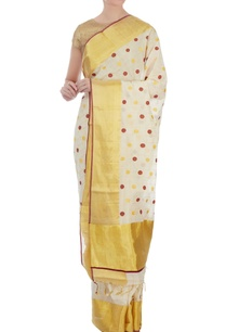 cream-gold-polka-dot-handloom-sari-with-unstitched-blouse-fabric