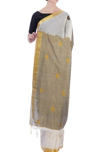 cream-gold-handloom-pure-cotton-zari-sari-with-unstitched-blouse-fabric
