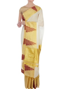 cream-gold-handloom-sari-with-unstitched-blouse-fabric
