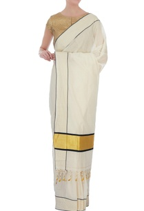 cream-handloom-sari-with-checkered-border-unstitched-blouse-fabric