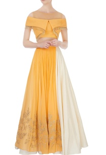 yellow-white-lehenga-cold-shoulder-blouse