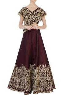 marsala-raw-silk-overlap-blouse-lehenga