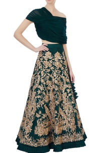 green-raw-silk-georgette-lehenga-with-blouse