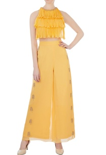 yellow-layered-blouse-palazzo-pants