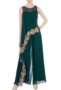 bottle-green-asymmetric-jumpsuit