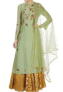 green-butterfly-motif-kurta-skirt-set