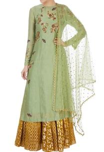 green-butterfly-motif-kurta-skirt-set