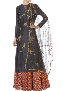 black-chanderi-kurta-with-skirt-dupatta