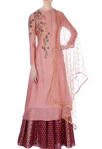 pink-chanderi-kurta-set