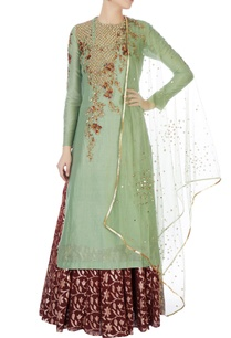 green-chanderi-kurta-with-skirt-dupatta