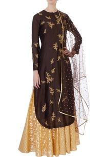 brown-sequin-kurta-skirt-set