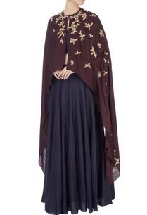 black-lehenga-halter-blouse-with-wine-cape