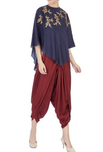 brown-halter-blouse-with-dhoti-pants-indigo-cape