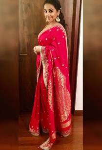 red-moonga-silk-embroidered-sari-gold-blouse