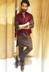 brown-silk-asymmetric-kurta-with-pants-and-bandi