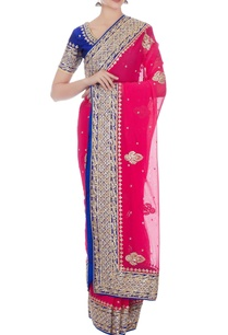 pink-blue-pure-georgette-sari-with-raw-silk-blouse