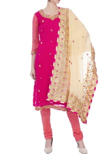 pink-pure-georgette-gota-patti-kurta-set