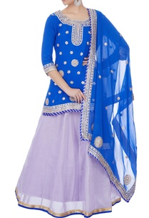 blue-georgette-kurta-with-flared-tissue-lehenga-dupatta