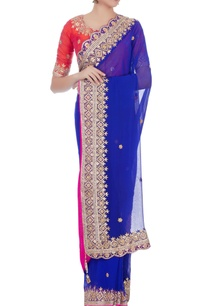 blue-pure-georgette-sari-with-raw-silk-blouse