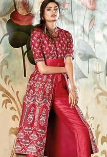 red-silk-embroidered-jacket-pant-set